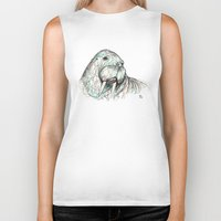 walrus Biker Tanks featuring Walrus by Ursula Rodgers