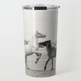Wild Horses 5 - Black and White Travel Mug