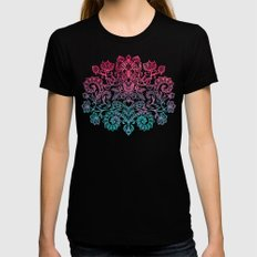Ombre Canvas Folk Art Doodle in aqua, pink & peach SMALL Black Womens Fitted Tee