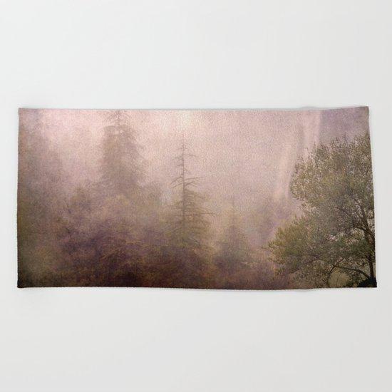 """""""Mistery forest. Foggy"""". Retro serie Beach Towel"""