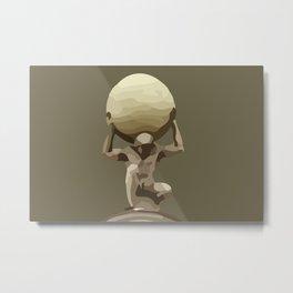 Man with Big Ball Illustration brown Metal Print