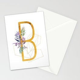 Modern glamorous personalized gold initial letter B, Custom initial name monogram gold alphabet prin Stationery Cards