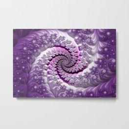 Beautiful Bloom of Lilacs Lavender Fractal Spiral Metal Print
