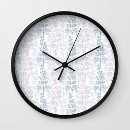 Blue and pink fern silhouettes on white background  Wall Clock
