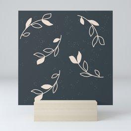 leaves white on dark blue pattern Mini Art Print