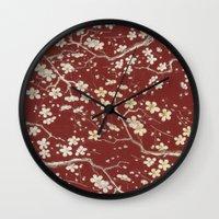 sakura Wall Clocks featuring Sakura by Paula Belle Flores