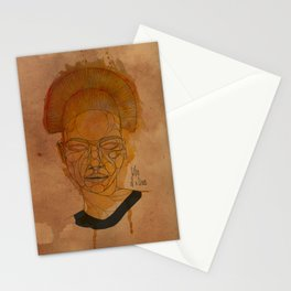 The woman with the black necklace Stationery Cards