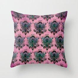 Pink Lotus Damask Throw Pillow