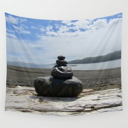 Finding Balance at the Beach Wall Tapestry