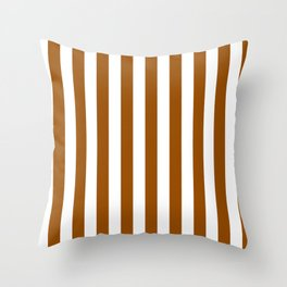 Narrow Vertical Stripes - White and Brown Throw Pillow