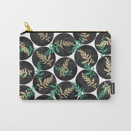 Black green gold watercolor polka dots botanical leaves  Carry-All Pouch