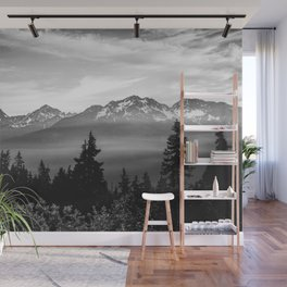 Morning in the Mountains Black and White Wall Mural
