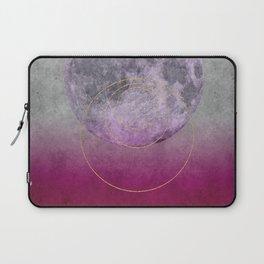Pink Moon geometric circle mixed media Laptop Sleeve