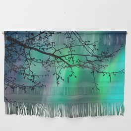 Tree Branch and Aurora Borealis Night Sky Wall Hanging
