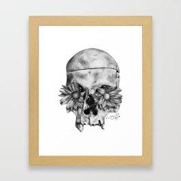 Skull and Flowers Drawing Framed Art Print