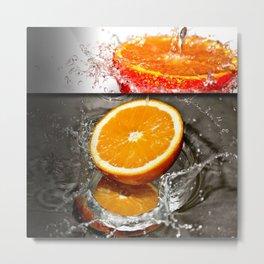 Oranges Splashing in Water Abstract Design Metal Print