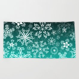 Symbols in Snowflakes on Winter Green Beach Towel