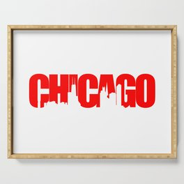 Chicago (Illinois) Skyline - Red Serving Tray