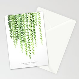 Watercolor string of pearls illustration Stationery Cards