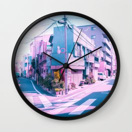 Anime in Real Life Vaporwave Summer Day in Tokyo Residential area Wall Clock