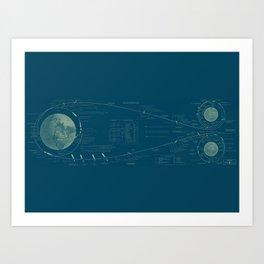 Earth-Moon Transit in Blue Art Print