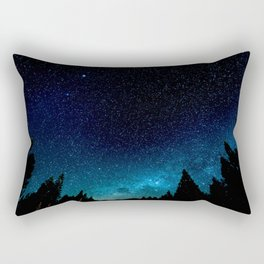 Black Trees Turquoise Milky Way Stars Rectangular Pillow