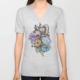 Blue Floral Heart Unisex V-Neck
