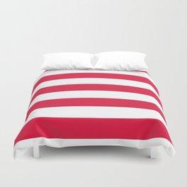Horizontal Stripes - White and Crimson Red Duvet Cover