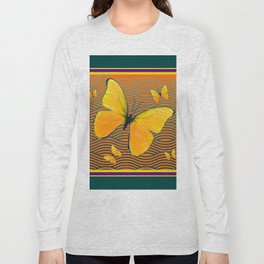 Dark Teal Yellow Butterflies Pattern Long Sleeve T-shirt