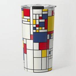 World Map Abstract Mondrian Style Travel Mug