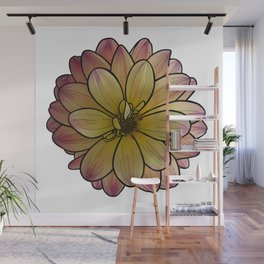 Yellow & Pink Dahlia Wall Mural