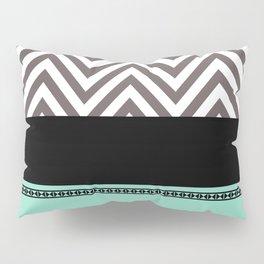 Chevron Striped Seafoam Aqua, Grey, Black Pillow Sham