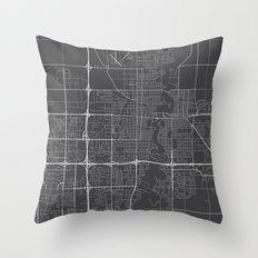 Fargo Map, USA - Gray Throw Pillow