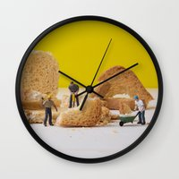 work hard Wall Clocks featuring Hard Work by Encolhi as Pessoas