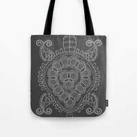 tortoise Tote Bags featuring Pattern Tortoise  by Adil Siddiqui
