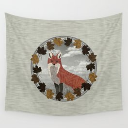 Red Fox Autumn Wreath Wall Tapestry