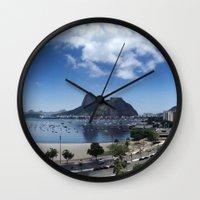 rio de janeiro Wall Clocks featuring Lovely Rio de Janeiro by Michel Lent