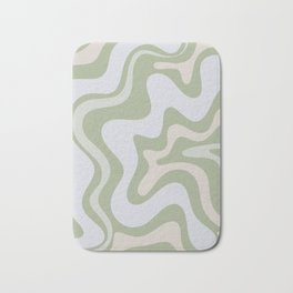 Liquid Swirl Contemporary Abstract Pattern in Light Sage Green Bath Mat