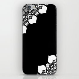 Retro . White lace on a black background . iPhone Skin