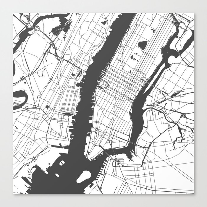 New York City White On Gray Street Map Canvas Print By Mapmaker Society6