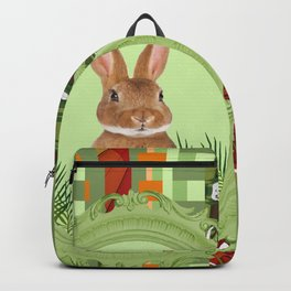 Bunny in green frame with geometric background stripes Backpack