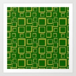 Gold Squares On Green Art Print