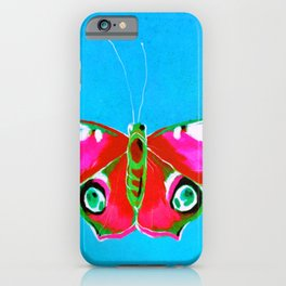 Pink and Green Butterfly on Blue Background iPhone Case