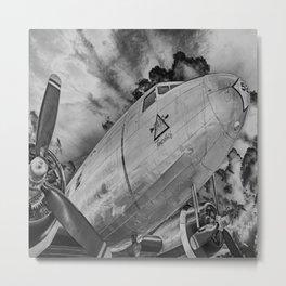 Airplane Propellors Vintage Flight Travel Aircraft Black And White Print Metal Print