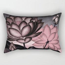 Millennial Pink Slate Gray Temple of Flora Rectangular Pillow
