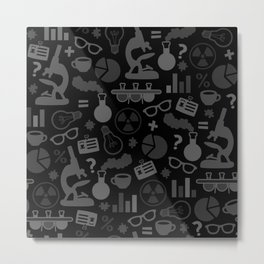 Grey and Black Science Pattern Metal Print