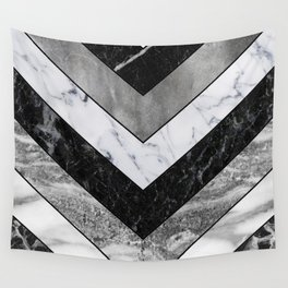 Shimmering mirage - grey marble chevron Wall Tapestry