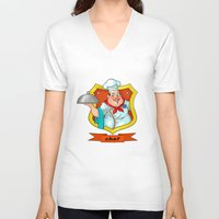 chef V-neck T-shirts featuring chef by Fargon