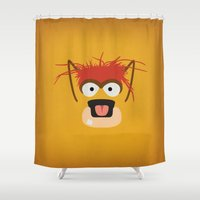 muppets Shower Curtains featuring The Muppets Show Vintage Art Pepe the King Prawn Retro Style Minimalist Poster Print by The Retro Inc