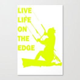 Live Life On The Edge Neon Yellow Kitebeach Canvas Print